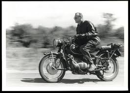 C Wright Mills on his BMW motorbike